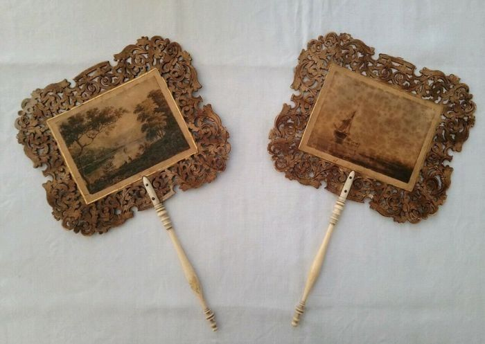 Antique hand held face screen with watercolour scenes  (2) - Wood - mid 19th century