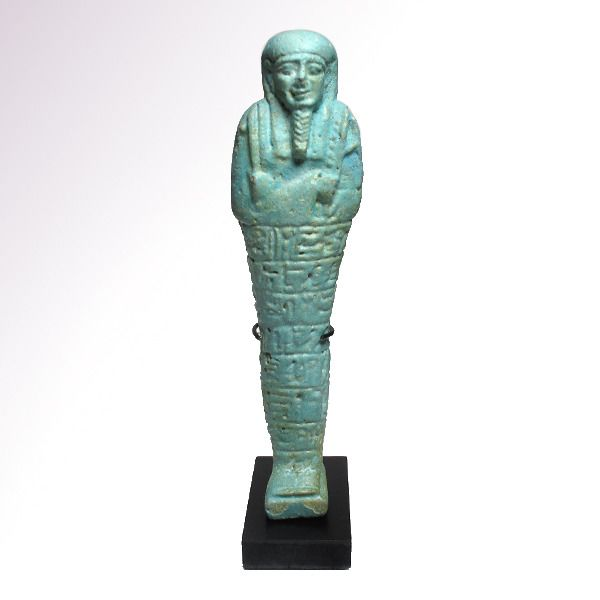 Ancient Egyptian Faience Large Inscribed Shabti, General of the Army Padi-Uzir, 30th Dynasty