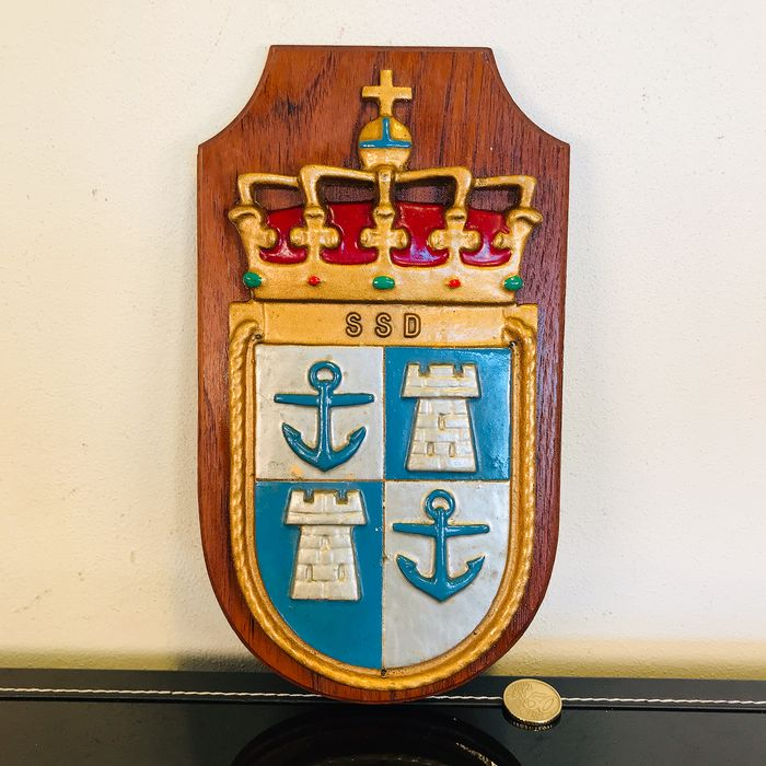 """Vintage Nautical coat of arms """"SSD"""" with anchors and fortresses - Iron (cast/wrought), Wood"""