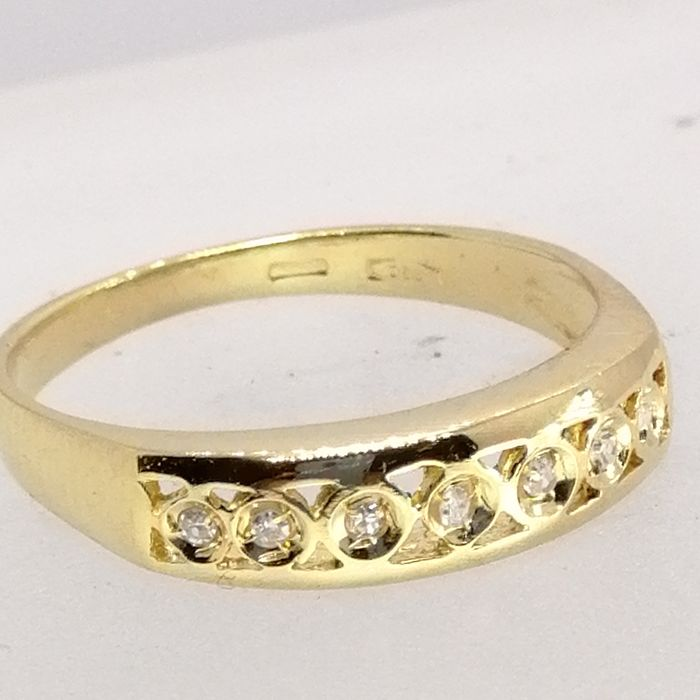 18 karat Gull - Ring - Diamanter