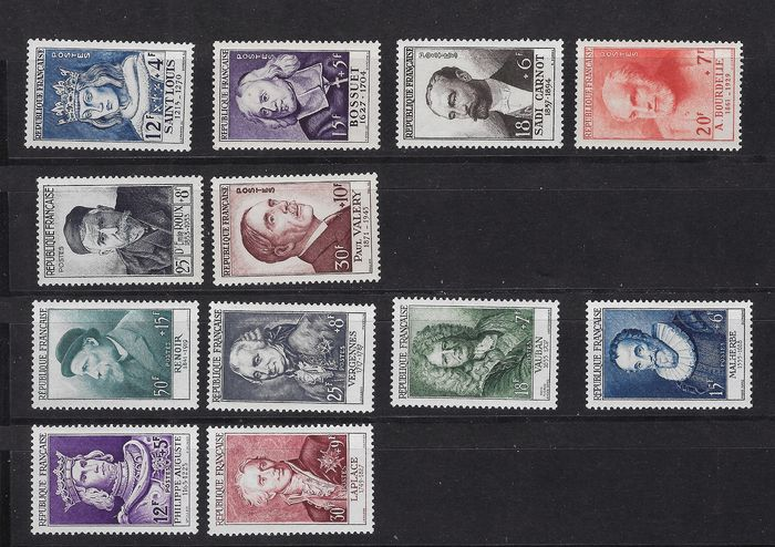France 1950/1955 - 6 complete series, famous figures