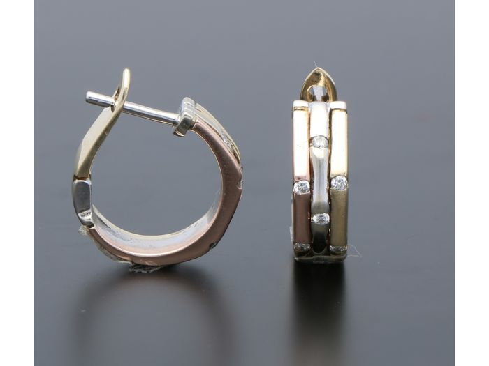 14 kt. Pink gold, Tricolour, White gold, Yellow gold - Earrings - 0.07 ct Diamond