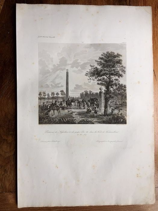 """Demarne & Dunouy, Lambinet et Pilinski - Diagraphe et pantographe Gavard - Engraving """"Interview of Napoleon and Pope Pius VII in the forest of Fontainebleau"""" - Thick wove paper"""