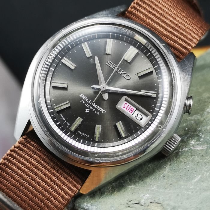 "Seiko - ""NO RESERVE PRICE"" - *Bell-Matic* Automatic Alarm (Buzz) Watch - 4006-7021 - Men - 1970-1979"