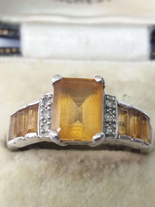 375 Yellow gold - Art Deco insp Citrine & Diamond Cocktail ring - 1.62 ct