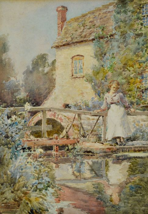Leonard Skeats. R.A. (1874-1943) - The mill at Mere, Wiltshire, England