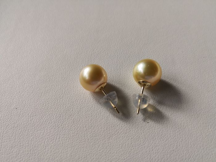 Golden south sea pearls, 10-11 mm round Natural Color and Luster  - Earrings