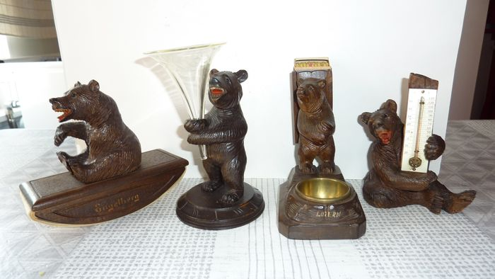 Sculpture, Black Forest wood carving (4) - Wood - Early 20th century