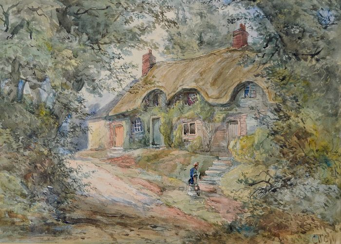Charles Doyly (1781-1845) - Thatched cottage with figure on path