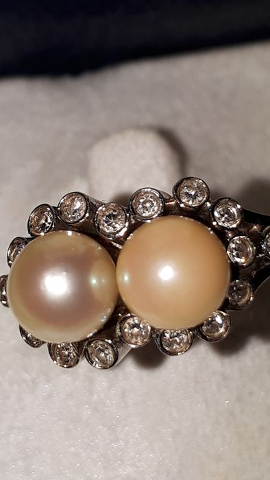 19,2 kt. Gold - Ring Pearl - Diamond
