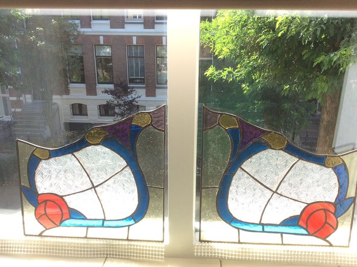 Two windowed abstract floral pattern (2) - Stained glass