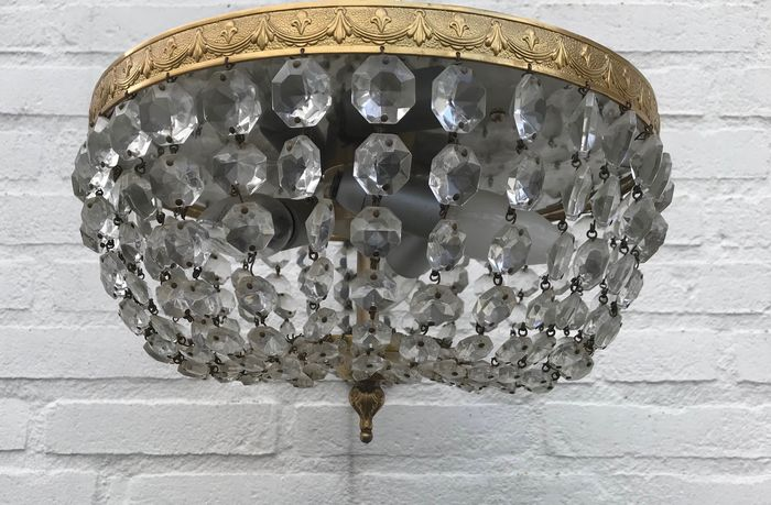 Ceiling lamp - Brass, Crystal