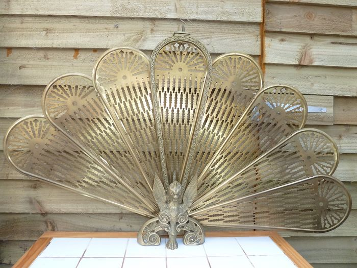 Brass Decorated Peacock Folding Fan Fire Screen