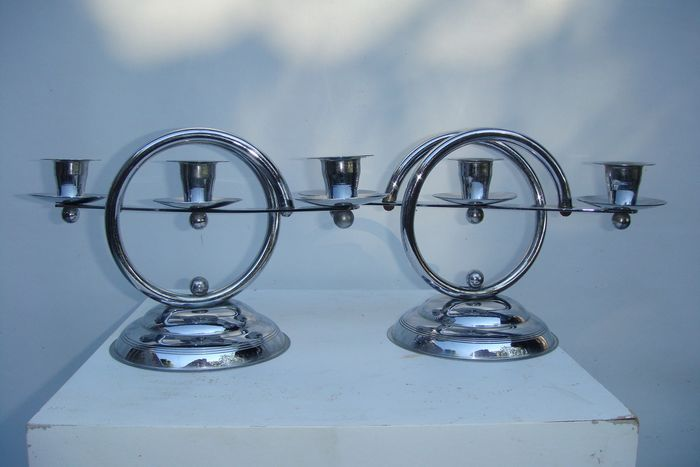 2 Chrome Art Deco Candlesticks (2)