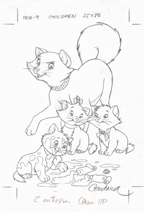 The Aristocats - Disney Studios - Original Production Drawing - Duchess & Kittens - JM Cardona - Original Art - (1990)
