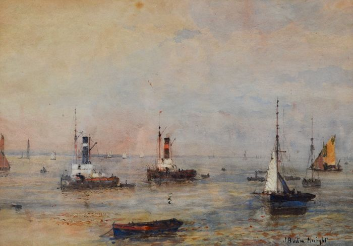 John William Buxton Knight (1842/43-1908) - Anchored tugs in an estuary
