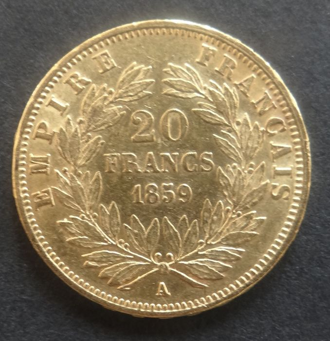 France - 20  Francs 1859-A (Paris) Napoleon III - Gold
