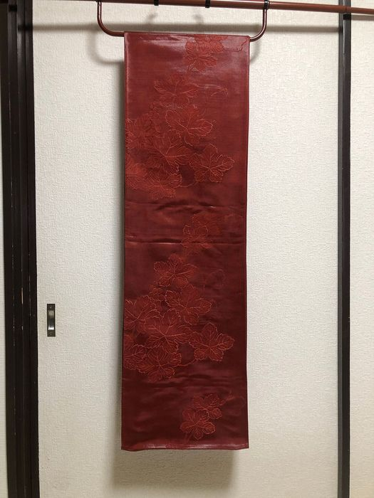 Obi - Silk - KIMONO Dark red elegant pattern - Japan - mid 20th century