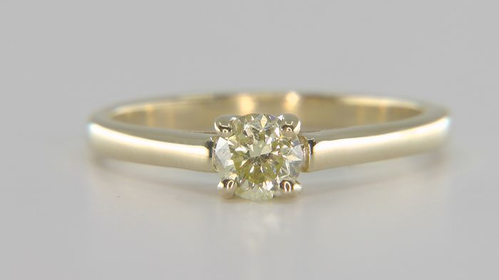 No Reserve Price!  - 14 kt. Yellow gold - Ring - Clarity enhanced 0.42 ct Diamond