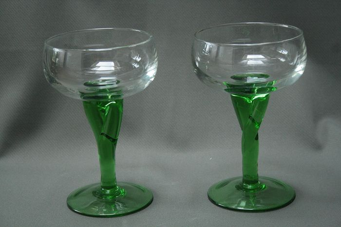 Mouth blown glass with green base (2) - glass