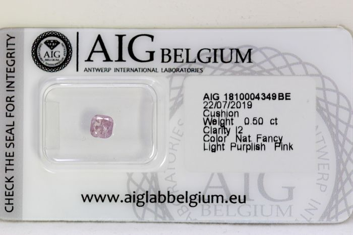 Diamante - 0.50 ct - Cojín - fancy light purplish pink -  I2