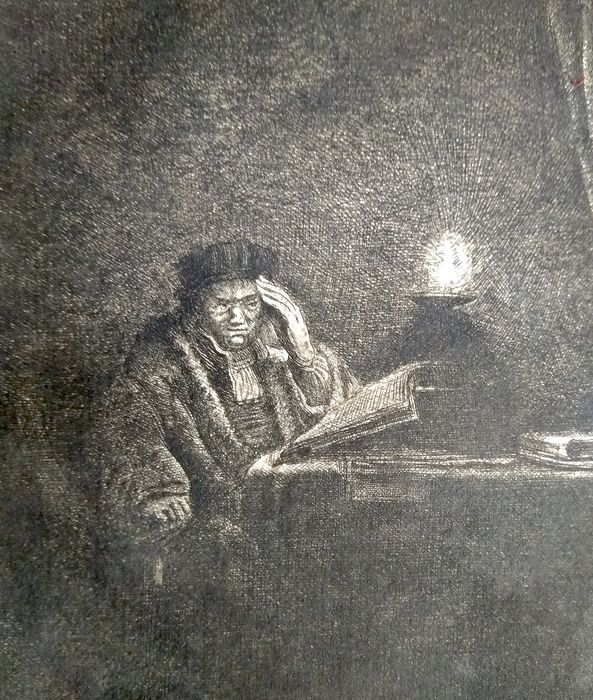 After Rembrandt Harmensz van Rijn (1606-1669) printed by M. Charreyre (1883-1884)  - Seated student reading in candlelight