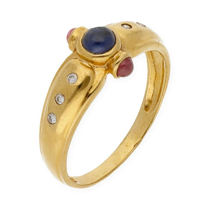 18 kt. Yellow gold - Ring Diamond - Ruby, Sapphires