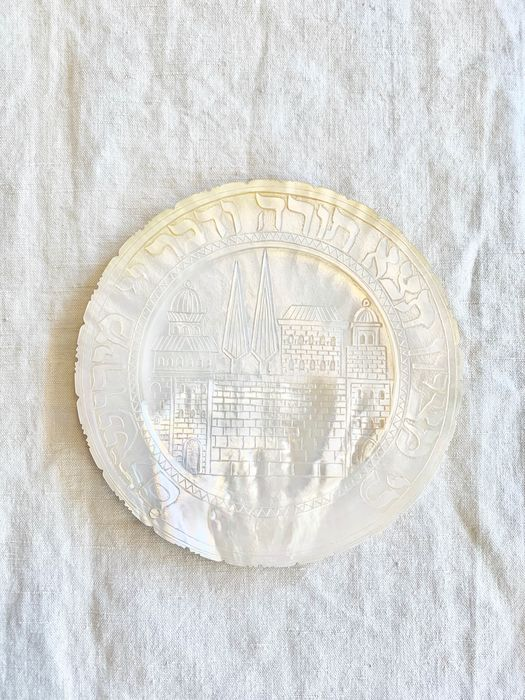 Jerusalem artist  - judaica - souvenir plate from hollyland - panorama of Jerusalem & Hebrew text  - Mother of pearl