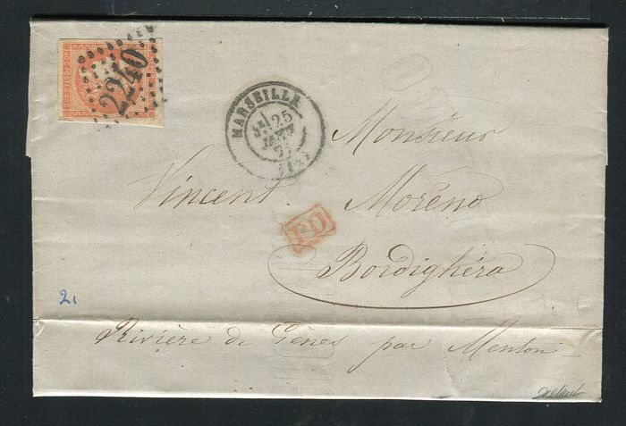 France 1871 - Rare letter from Marseille bound for Bordighéra with a N°48
