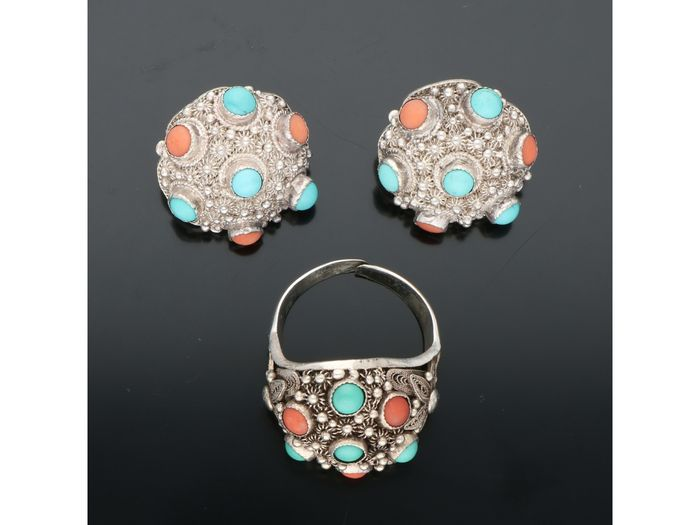 835 Silver - Ring, Earrings - Precious Coral - Turquoise