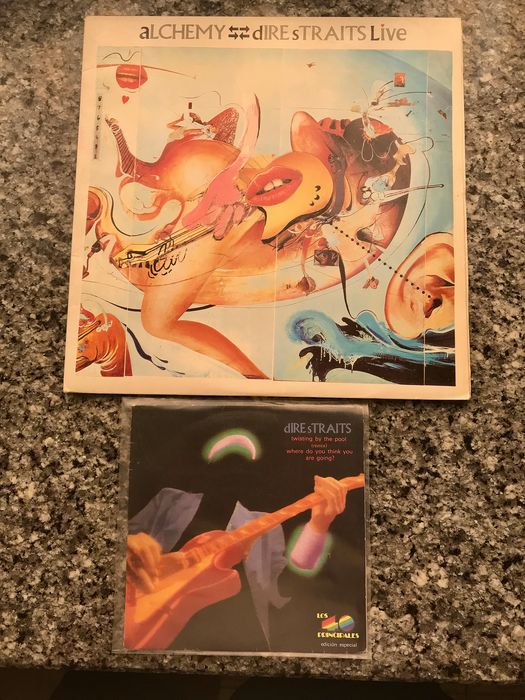 Dire Straits - Alchemy-Direstraits Live Double + Twisting by the Pool/ Where do you are going? Promo edition - Multiple titles - 2xLP Album (double album), 45 rpm Single - 1984/1988
