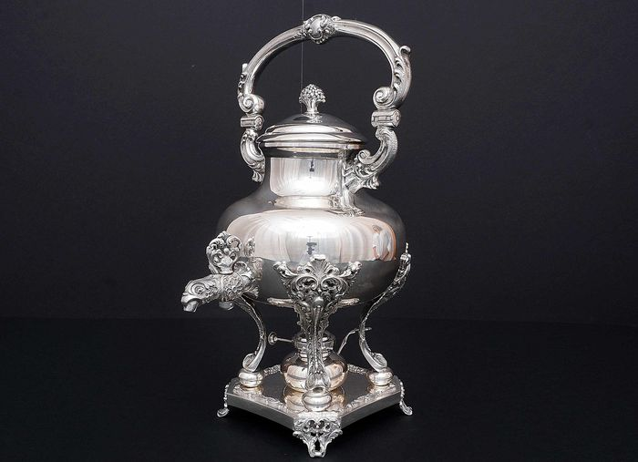 Samovar, Important Samovar with Stand and Burner - .800 silver - l.M.A. di Guerci & C (active 1935-1971) - Italy