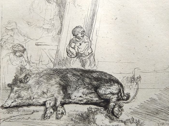 After Rembrandt Harmensz van Rijn (1606-1669) printed by M. Charreyre (1883-1884)  - The pig