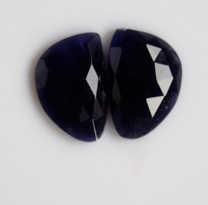 2 pcs  Iolite Flat Rose Cut - 14.40 ct