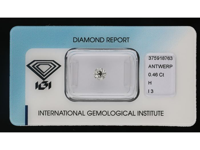 1 pcs Diamant - 0.46 ct - Brillant - H - I3 ***No Reserve***