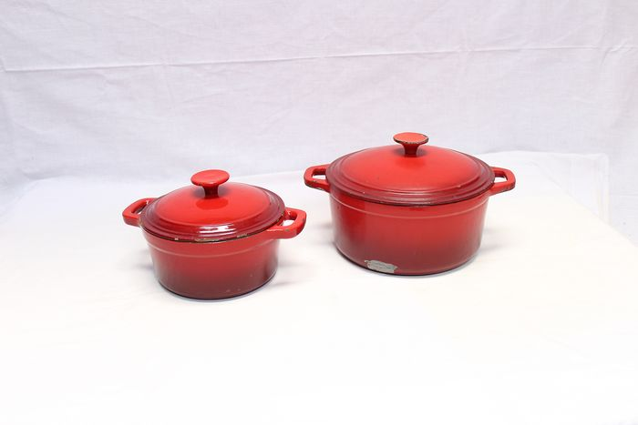 Lot of two red Nameta frying pans - Iron (cast/wrought)