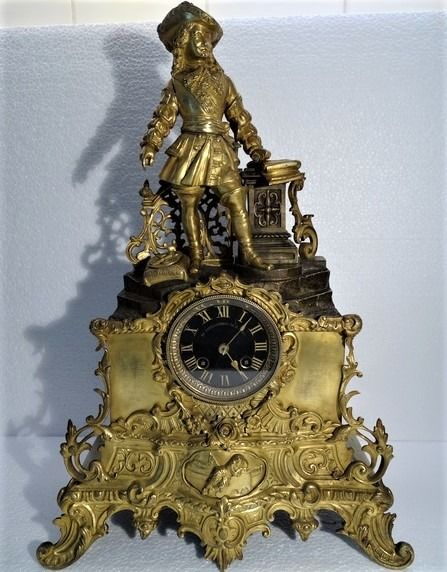 Empire tabletop clock - AD.Mougin 26281 - Bronze (gilt/silvered/patinated/cold painted), Marble - Early 20th century
