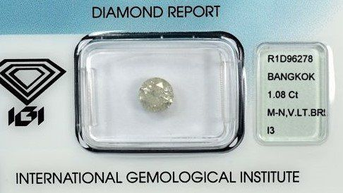 Diamond - 1.08 ct - Brilliant - M, N (tinted) - I3 (piqué)