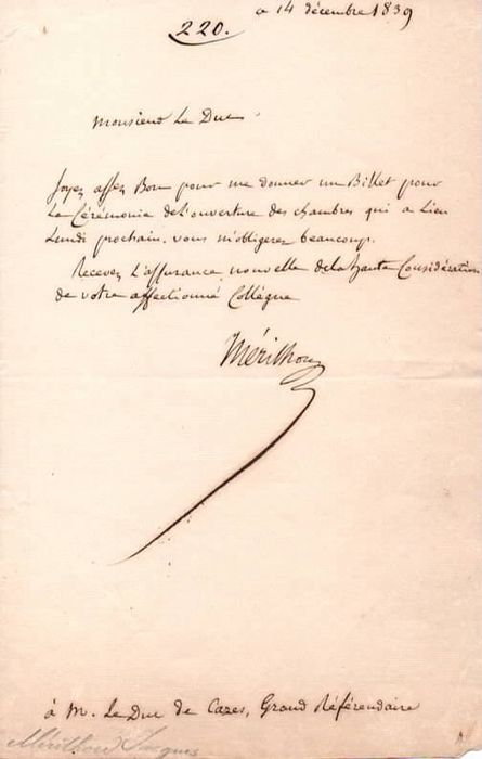 Joseph Mérilhou Politic - Autograph; Thanksgiving for the Chamber Opening Ceremony' Tickets, to Duke Decazes - 1839