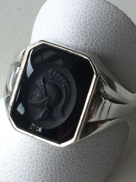 835 Silver - Silver Men's Ring with Onyx Stone Engraving