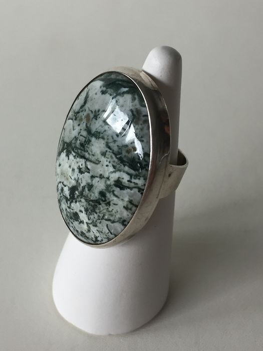 835 Silver - Silver Moss Agate Ring