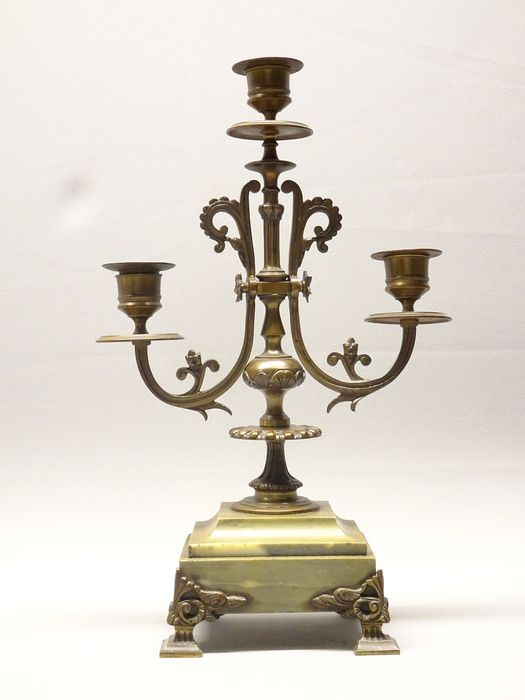 Candelabra - Empire Style - Marble, Patinated bronze