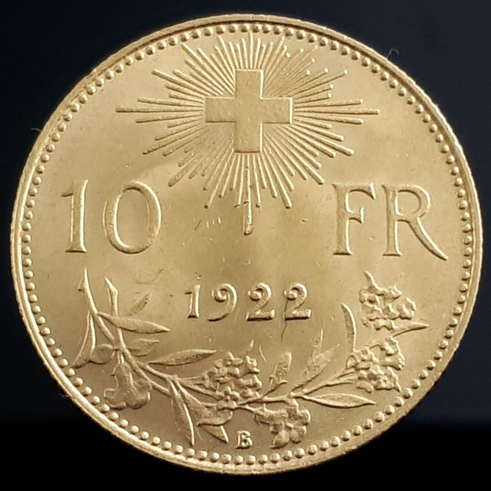 Switzerland - 10 Franc 1922 Helvetia - Gold