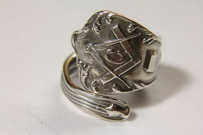 925 Sterling Silver Masonic Spoon Ring - .925 silver