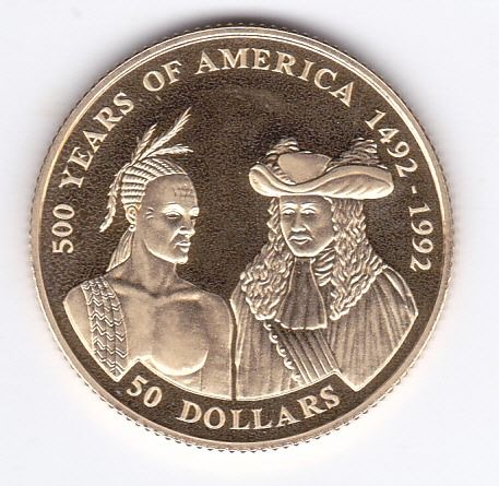 "Cook Islands - 50 dollars 1992 ""500 years of America 1492-1992"" - Gold"