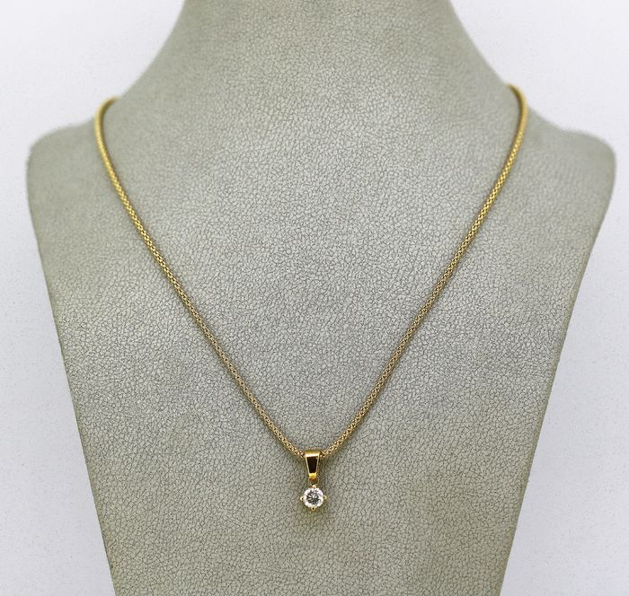 18 kt. Gold - Necklace with pendant - 0.40 ct Diamond