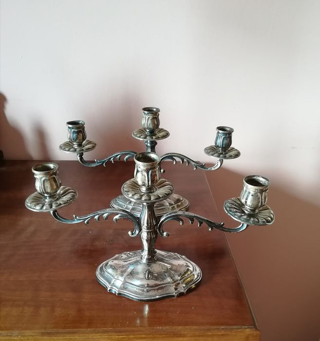 candlesticks (2) - .800 silver - Italy - Early 20th century