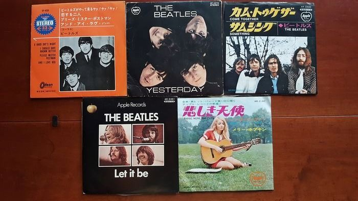 "Beatles & Related - 2 x 7"" EP ( One Red Vinyl ) and 3 x 7"" singles Japan    - Multiple titles - 45 rpm Single - 1965/1973"