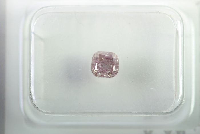 Diamond - 0.55 ct - Cushion - fancy light purplish pink - I2 - * NO RESERVE PRICE *