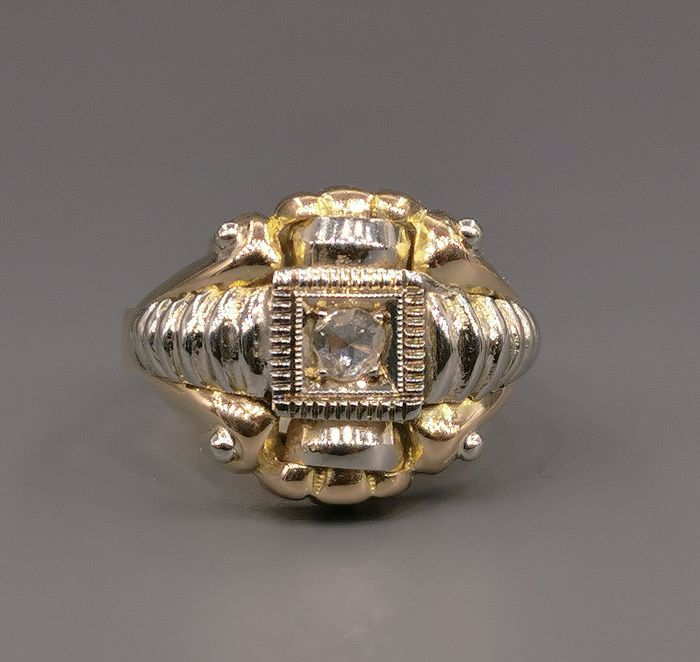 18 kt yellow and white gold - Ring - 0.15 ct diamond